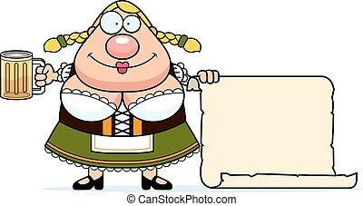 Cartoon Oktoberfest Woman Sign - A cartoon illustration of a...