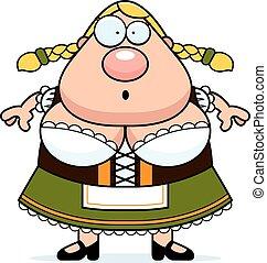 Cartoon Oktoberfest Woman Surprised