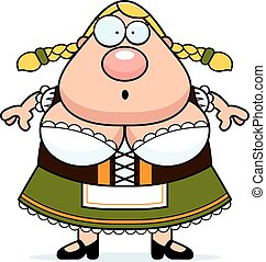 Cartoon Oktoberfest Woman Surprised