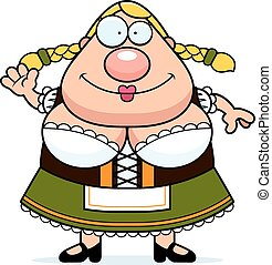 Cartoon Oktoberfest Woman Waving