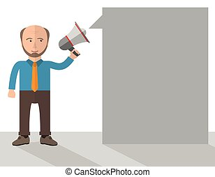 Cartoon Old Businessman Megaphone Speech Bubble