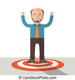 Cartoon Old Businessman Red Target Success