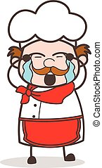 Cartoon Old Chef Crying Face