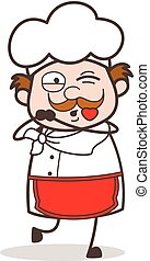 Cartoon Old Chef Face Blowing a Kiss Vector
