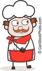 Cartoon Old Chef Frowning Face Vector Illustration