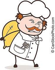 Cartoon Old Chef Having Lots of Burden