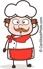 Cartoon Old Chef Hushed Face