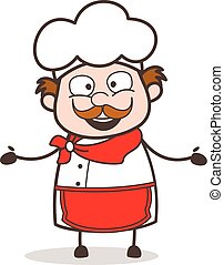 Cartoon Old Chef Laughing Face Vector Illustration