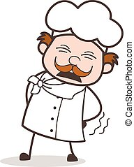Cartoon Old Chef Persevering Face