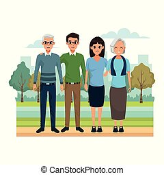 cartoon old couple and happy couple