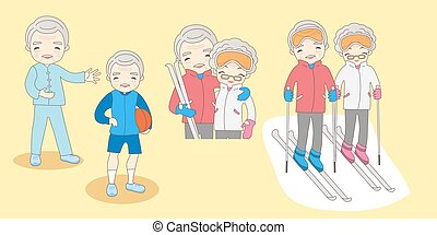 cartoon old couple do excirse