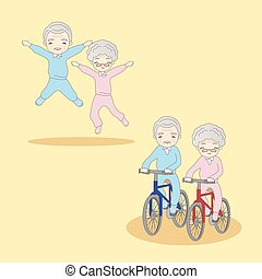 cartoon old couple doing excercise