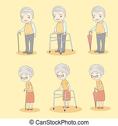 cartoon old couple holdng crutch