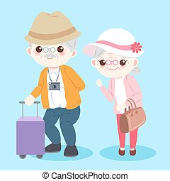 cartoon old couple