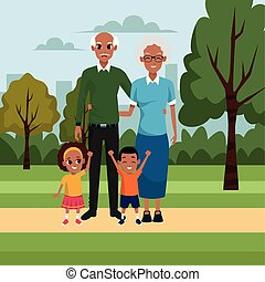cartoon old couple with kids