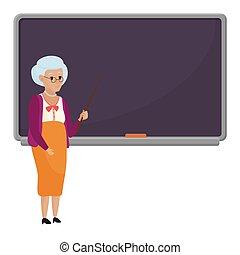 Cartoon old female teacher standing in front of blank school blackboard vector illustration. Granny teacher isolated.