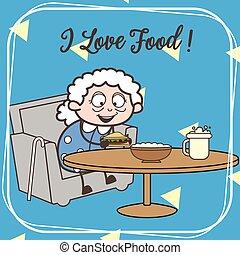 Cartoon Old Granny Ready to Eat Vector Illustration