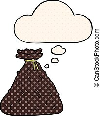 cartoon old hessian sack with thought bubble in comic book style