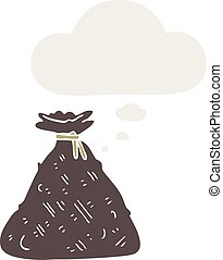 cartoon old hessian sack with thought bubble in retro style