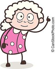 Cartoon Old Lady Pointing Finger Vector Illustration