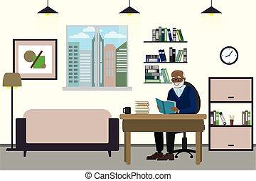 Cartoon old man at home, grandfather read book, interior ...