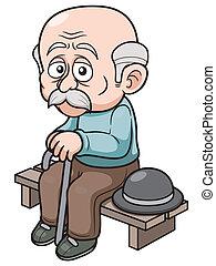 Cartoon Old man - illustration of Cartoon Old man sitting...