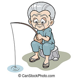 Cartoon Old man - Vector illustration of Cartoon Old man...