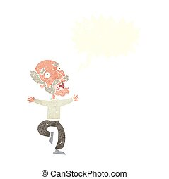 cartoon old man having a fright with speech bubble