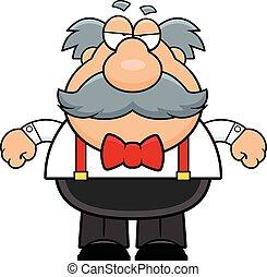 Cartoon Old Man Mustache Grumpy - Cartoon illustration of an...
