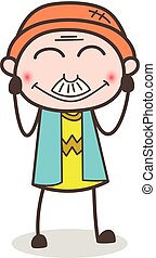 Cartoon Old Man Smiling Face with Smiling Eyes Vector Illustration