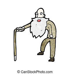 cartoon old man walking