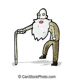 cartoon old man walking
