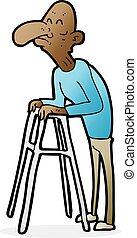 cartoon old man with walking frame