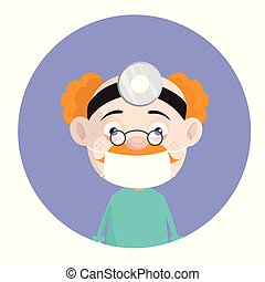 Cartoon Old Pathologist Surgeon with Face Mask and Spotlight...