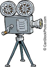 Cartoon old projector - Cartoon doodle old projector on a...