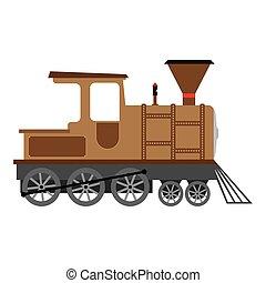 Cartoon Old steam locomotive, vector illustration