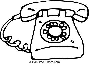 cartoon old style telephone