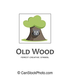 Cartoon old tree icon with owl.