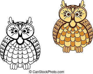 Old wise cartoon eagle owl bird with mottled yellow and orange rounded body and brown wings
