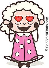 Cartoon Old Woman Falling in Love Vector Illustration