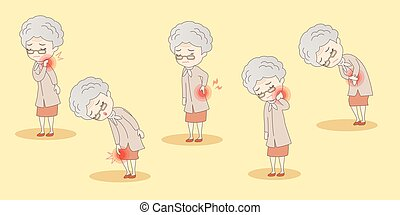 old woman have body ache