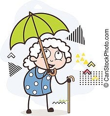 Cartoon Old Woman Having Fun in Rain Vector Illustration