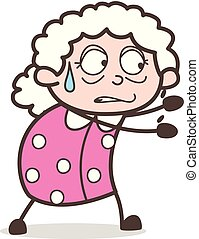 Cartoon Old Woman Running and Trying to Catch Vector Illustration