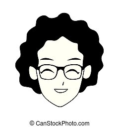 cartoon old woman with glasses, flat design