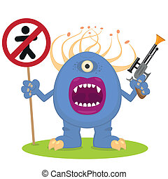 blue monster with a blaster