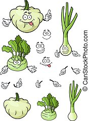 Cartoon onion, pattypan squash, kohlrabi vegetables