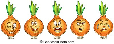 Cartoon Onion. Vegetable Food Collection