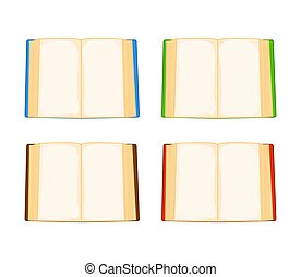 cartoon open book set isolated on white background