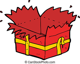 cartoon open present
