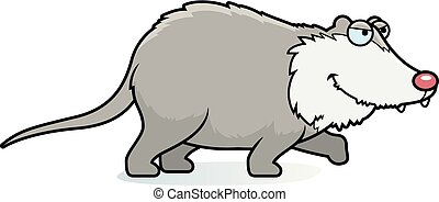 Cartoon Opossum Stalking - A cartoon illustration of a...